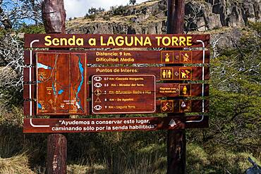 The park trail sign for the Laguna Torre Trail in Los Glaciares National Park near El Chalten, Argentina.  A UNESCO World Heritage Site in the Patagonia region of South America.