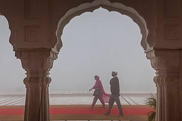 Pilgrims walking, in Golden temple, Amritsar, Punjab, India