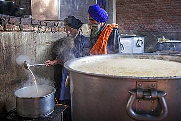 Making chai. Volunteers cooking for the pilgrims who visit the Golden Temple, Each day they serve free food for 60,000 - 80,000 pilgrims, Golden temple, Amritsar, Punjab, India