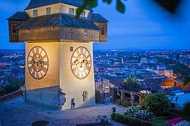 Clock tower on Schlossberg, castle hill, Graz, Austria
