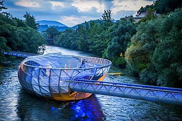 Murinsel, Mur Island on Mur River, Graz, Austria, Europe