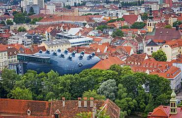 Roofs of the city and Kunsthaus, Graz Art Museum, view from Schlossberg, castle mountain, Graz, Austria