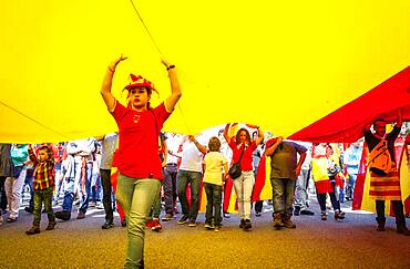 Anti-independence Catalan protestors carry Spanish flag during a demonstration for the unity of Spain on the occasion of the Spanish National Day at Passeig de Gracia, Barcelona on October 12, 2014, Spain