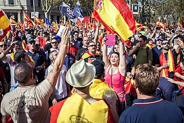 Anti-independence Catalan protestors carry Spanish flags during a demonstration for the unity of Spain on the occasion of the Spanish National Day at Catalunya square in Barcelona on October 12, 2014
