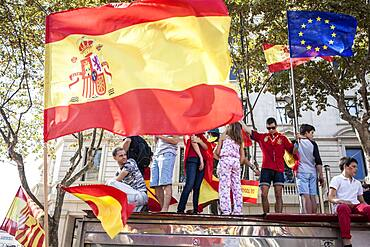 Anti-independence Catalan protestors carry Spanish flags during a demonstration for the unity of Spain on the occasion of the Spanish National Day at Passeig de Gracia, Barcelona on October 12, 2014, Spain