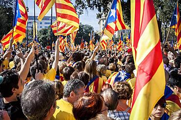 Political demonstration for the independence of Catalonia. Catalunya square.October 19, 2014. Barcelona. Catalonia. Spain.