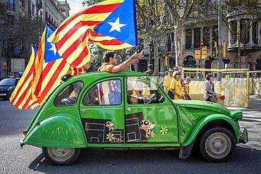 Political demonstration for the independence of Catalonia. Passeig de Gracia.October 19, 2014. Barcelona. Catalonia. Spain.