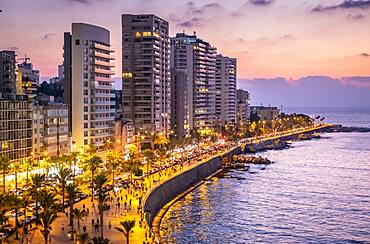Skyline, View of Corniche, Beirut, Lebanon