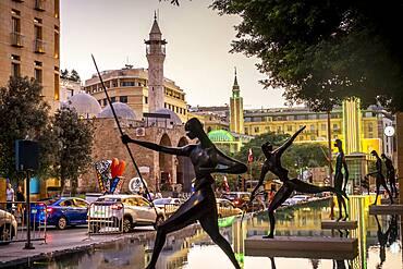 "`The warriors"" sculptures by Antonio Signorini, in Samir Kassir garden or square, in background Waygand street, Downtown, Beirut, Lebanon"