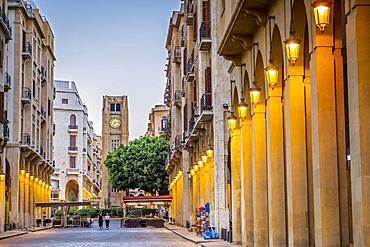 El Omari Mosque street, in background El Nejmeh square or Star square, Downtown, Beirut, Lebanon