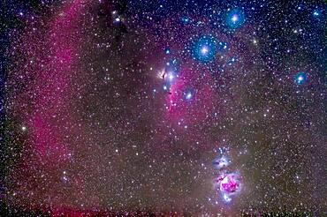 The Belt and Sword region of Orion, with the Orion Nebula, Messiesr 42 and 43, at bottom. Below the left star of the Belt, Alnitak, is the famous Horsehead Nebula, while above it is NGC 2024, aka the Flame Nebula. At very top left is Messier 78, while part of Barnard's Loop arc across the field at left. The field is filled with other faint red emission and blue reflection nebulas. The large loose open cluster Collinder 70 surrounds the middle star of the Belt, Alnilam.
