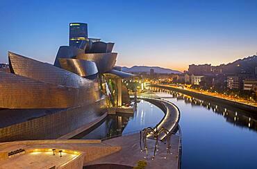 Guggenheim Museum and Nervión river,  Bilbao, Spain