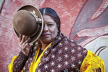 Angela la Folclorista, cholita female wrestler, El Alto, La Paz, Bolivia