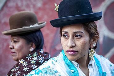 At right Benita la Intocable , at left Angela la Folclorista, cholitas females wrestlers, El Alto, La Paz, Bolivia