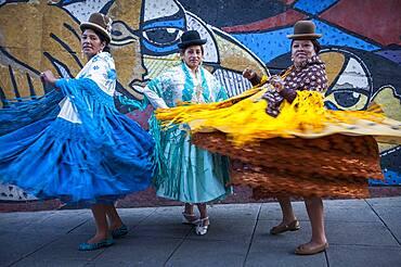 At left Dina , in the middle Benita la Intocable, at right Angela la Folclorista, cholitas females wrestlers, El Alto, La Paz, Bolivia