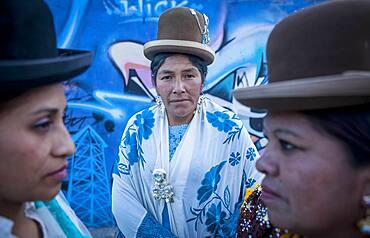 At left Benita la Intocable , in the middle Dina, and at right Angela la Folclorista, cholitas females wrestlers, El Alto, La Paz, Bolivia