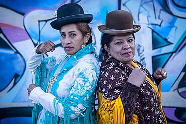At left Benita la Intocable , and at right Angela la Folclorista, cholitas females wrestlers, El Alto, La Paz, Bolivia