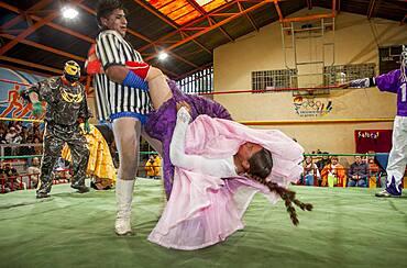 Lucha Libre. male and the cholita Celia la Simpatica wrestlers in combat, Sports center La Ceja, El Alto, La Paz, Bolivia