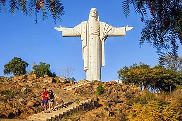 Torists, Largest statue of Jesus Christ in the world, the Cristo de la Concordia in Cochabamba, Bolivia