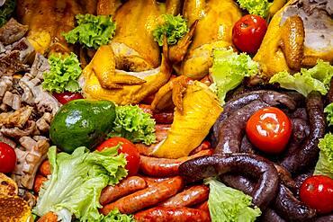 chicken, sausage, black pudding, pork rinds, avocado, pollo, chorizo, morcilla, chicharron, aguacate, typical Colombian gastronomy
