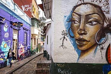 Street art, mural, in `El embudo´street or Carrera 2, Candelaria neighborhood, Bogotá, Colombia
