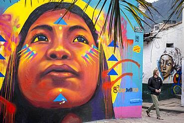 Street art, mural, in Plazoleta Chorro de Quevedo, Candelaria neighborhood, Bogotá, Colombia