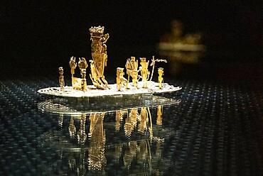 The Offering Raft or La Balsa de la ofrenda, Pre-Columbian goldwork collection, Gold museum, Museo del Oro, Bogota, Colombia, America