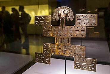 Pectoral in the form of a Jaguar-Man, Pre-Columbian goldwork collection, Gold museum, Museo del Oro, Bogota, Colombia, America