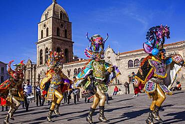 Fiesta del Gran Poder, Plaza San Francisco, in background San Francisco church, La Paz, Bolivia
