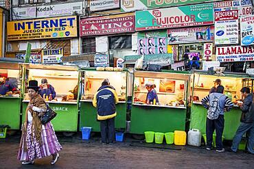 Street food stalls, in Avenida Mariscal Santa Cruz, La Paz, Bolivia