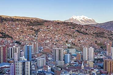 Panoramic view of the city, in background  Illimani mountain 6462 m, La Paz, Bolivia