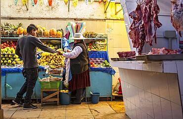 Seller and buyer, Market of Potosi, in calle Bolivar at calle Bustillos, Potosi, Bolivia
