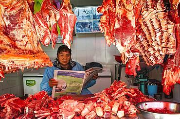 Woman reading, Butcher shop, Market of Potosi, in calle Bolivar at calle Bustillos, Potosi, Bolivia