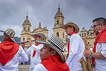 Musicians in traditional costume, in Bolivar square, Bogotá, Colombia