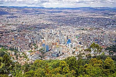 Skyline, downtown, from Montserrate hill or cerro de Montserrate, Bogota, Colombia