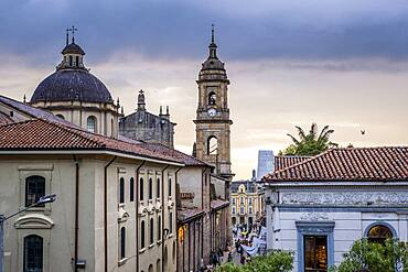 Calle 11 or 11 Street, in background Catedral Primada or cathedral, skyline, historic center, old town, Bogota, Colombia