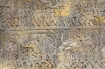 Representation, Ramayana epic, Bas-relief carvings, in Bayon temple, Angkor Thom, Angkor, Siem Reap, Cambodia