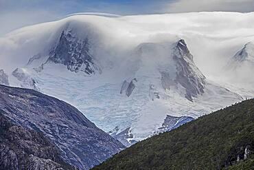 Detail of Cordillera Darwin, from Beagle Channel (northwest branch), PN Alberto de Agostini, Tierra del Fuego, Patagonia, Chile
