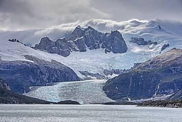 Pia Glacier, from Pia bay, in Beagle Channel (northwest branch), PN Alberto de Agostini, Tierra del Fuego, Patagonia, Chile