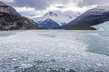 Pia bay or Pia Fjord, in Beagle Channel (northwest branch), PN Alberto de Agostini, Tierra del Fuego, Patagonia, Chile