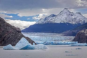 Grey Glacier, in Grey Lake, Torres del Paine national park, Patagonia, Chile