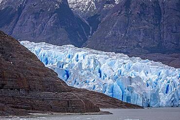 Detail, Grey Glacier, in Grey Lake, Torres del Paine national park, Patagonia, Chile