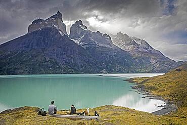 Mirador Cuernos, in Lago Nordenskjöld, You can see the amazing Cuernos Del Paine and Monte Almirante Nieto, Torres del Paine national park, Patagonia, Chile