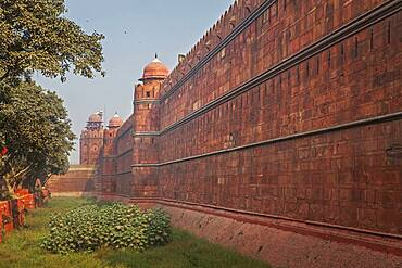 Rampart and moat of Red Fort, Delhi, India