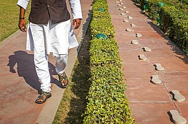 Gandhi Smriti Museum, the home of Mahatma Gandhi for last 144 days of his life, before he was shot on January 30th 1948. The Footsteps Represent His Last Walk Before his Death, Delhi, India.