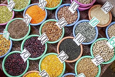 Spices on display, Spice market, in Khari Baoli, near Chandni Chowk, Old Delhi, India