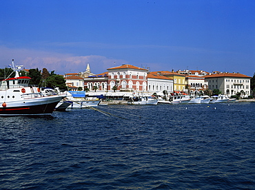 View of town over harbour, Porec, Istria district, Croatia, Europe