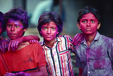 Boys during the Holi festival celebrations in Colomba, Mumbai (Bombay), India, Asia