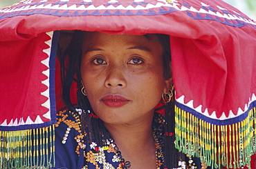 Portrait of a woman of the T'Boli tribe in traditional dress, an ethnic group, South Cotabato, island of Mindanao, Philippines, Southeast Asia, Asia