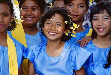 Portrait of a group of teenage girls, National Day, Kuala Lumpur, Malaysia, Southeast Asia, Asia